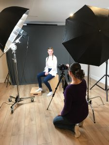 Behind the scenes image in the Alana Lee Photography studio in Port Hope, Ontario showing two light setup and grey background used with digital texture overlays