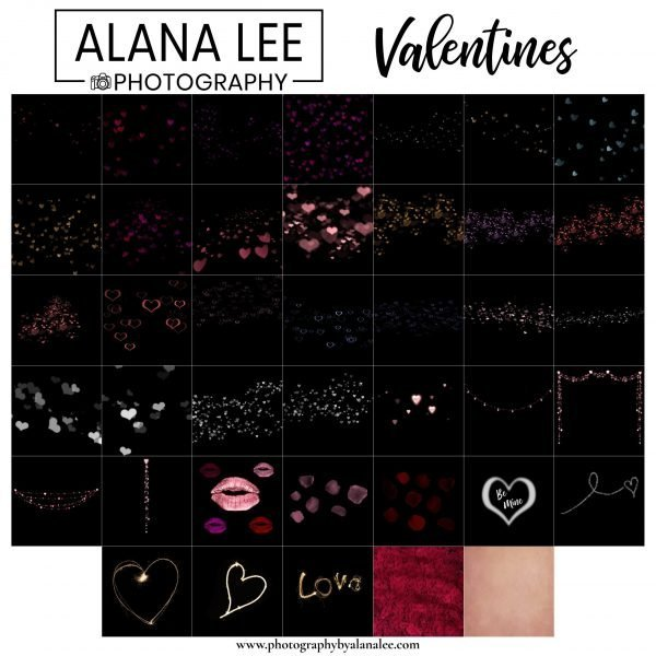 black background digital overlays with heart and love theme for valentines