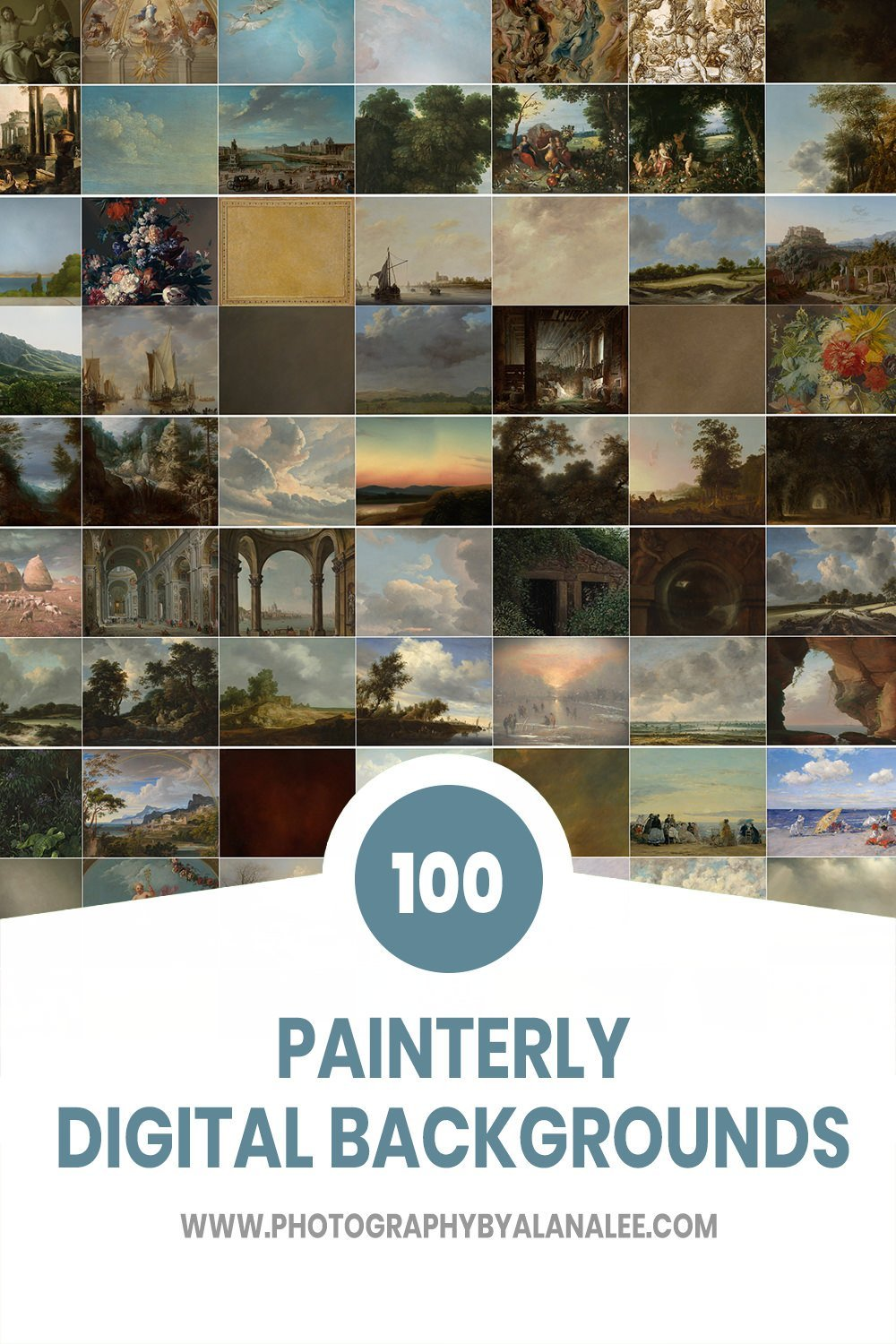 100 painterly style digital backdrops for photography