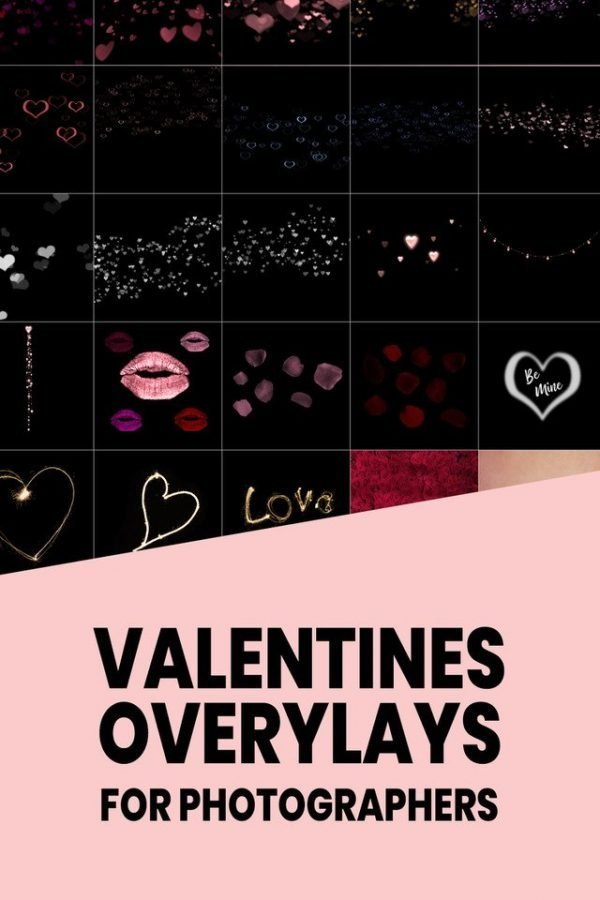 black background overlays for photographers with hearts, love and valentines theme
