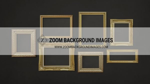 zoom virtual backgrounds for photographers gold frame on black wall background