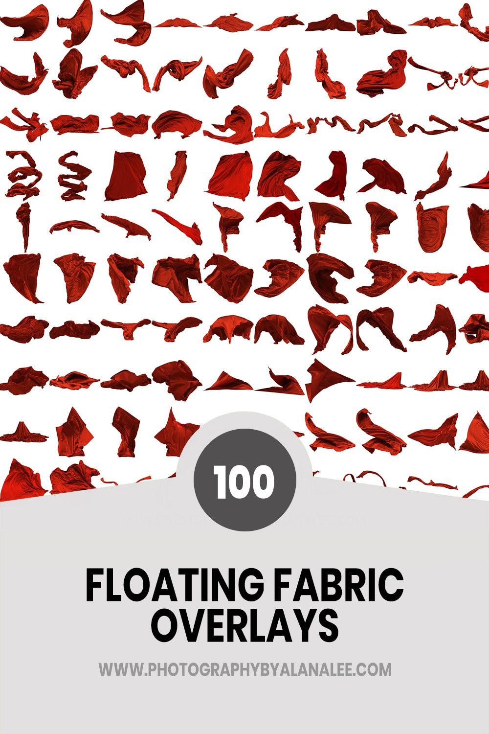 a collection of 100 digital flying fabric overlays for photoshop editing