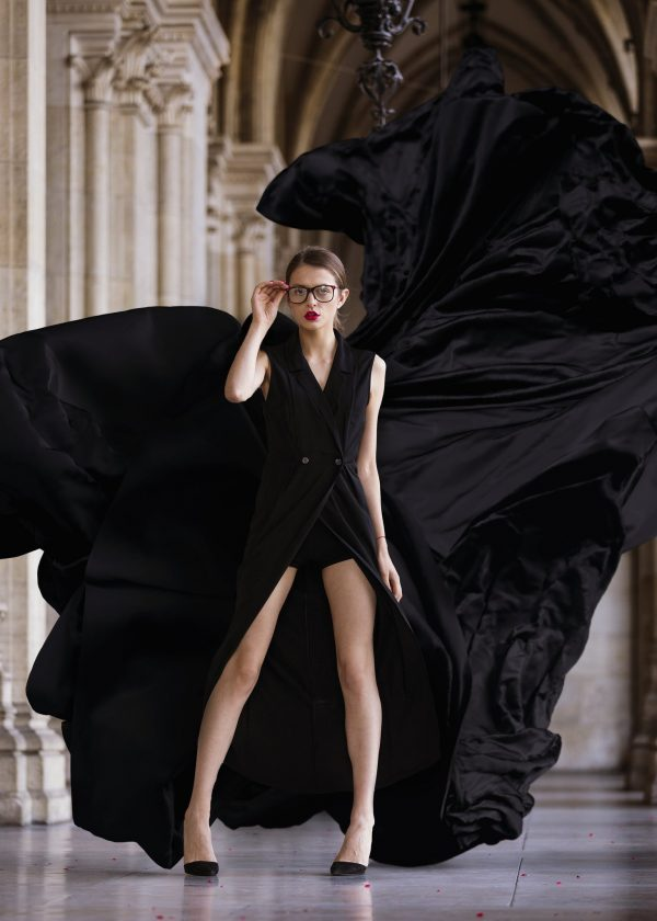 adding a flying fabric overlay to a fashion portrait photo using photoshop