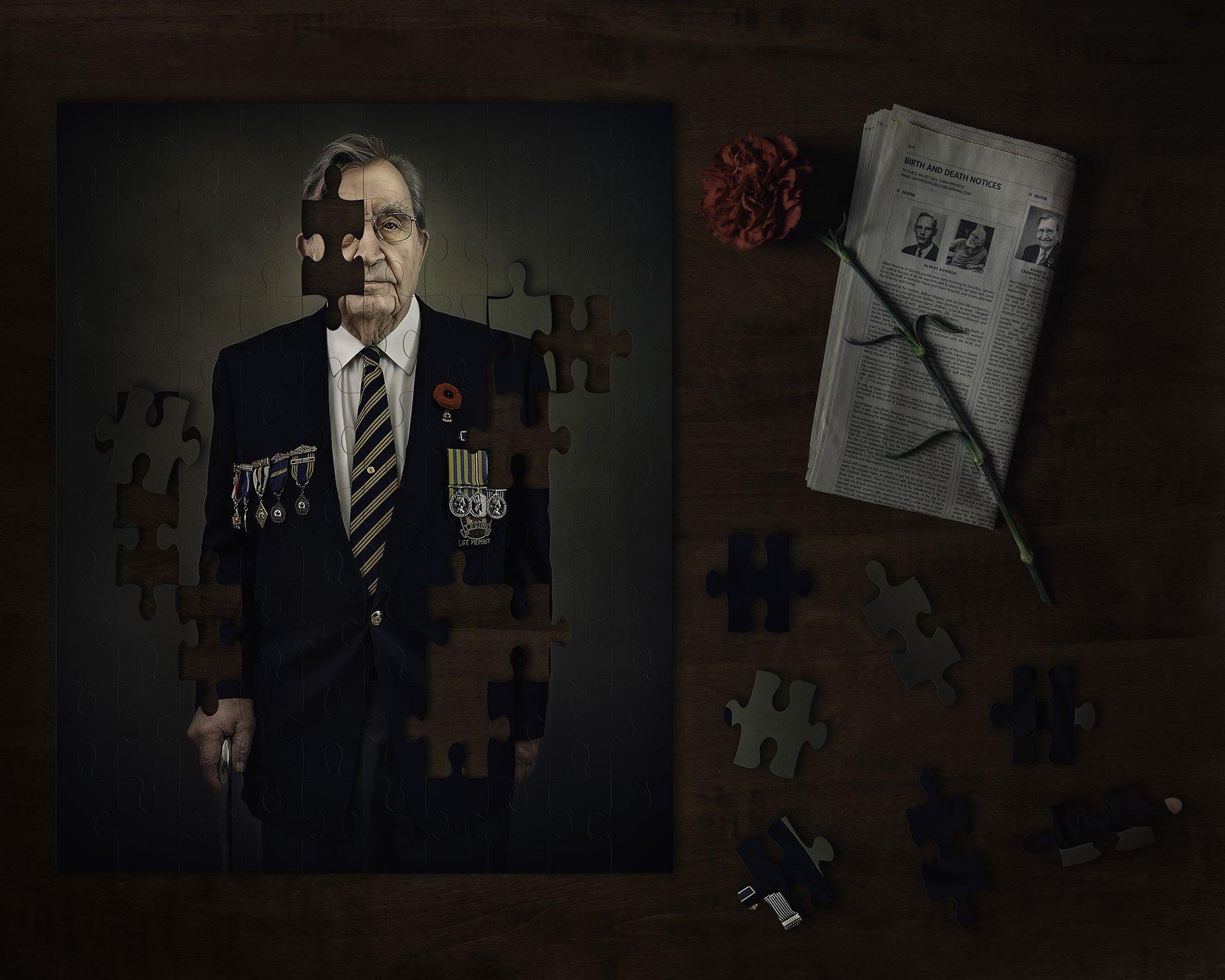 puzzle portrait of war veteran