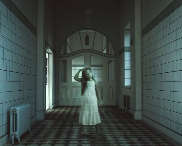 composite photography made in photoshop of ghost girl in assylum hallway using a digital background from the Halloween Collection from Alana Lee