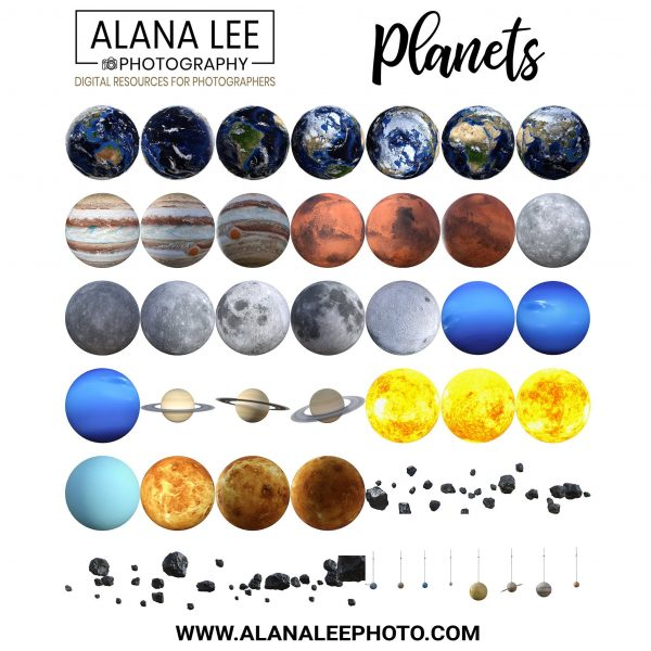 planet, moon and meteor digital overlays for photoshop composites and digital art with photoshop