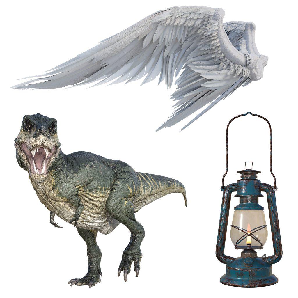 digital dinosaur, lantern and angel wing overlays for photoshop