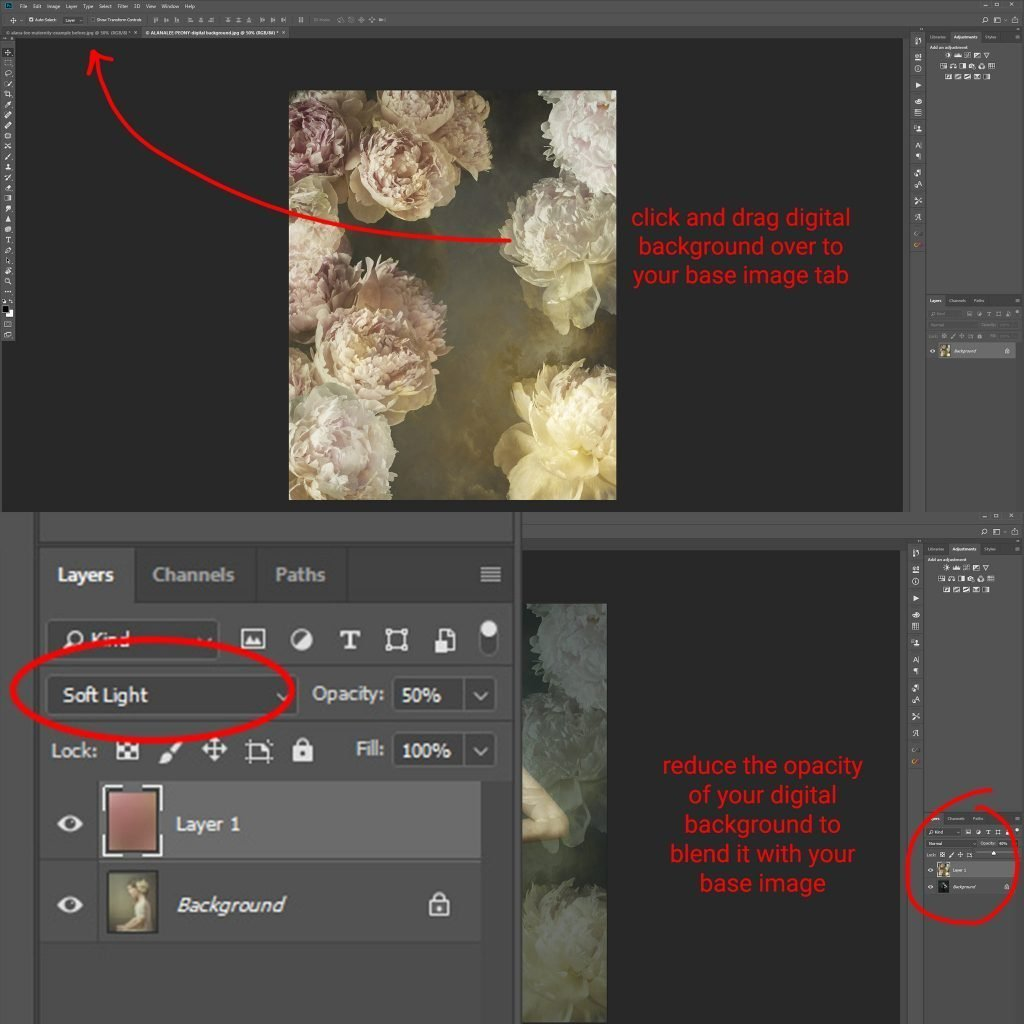 how to use digital backgrounds, textures and overlays in photoshop tutorial