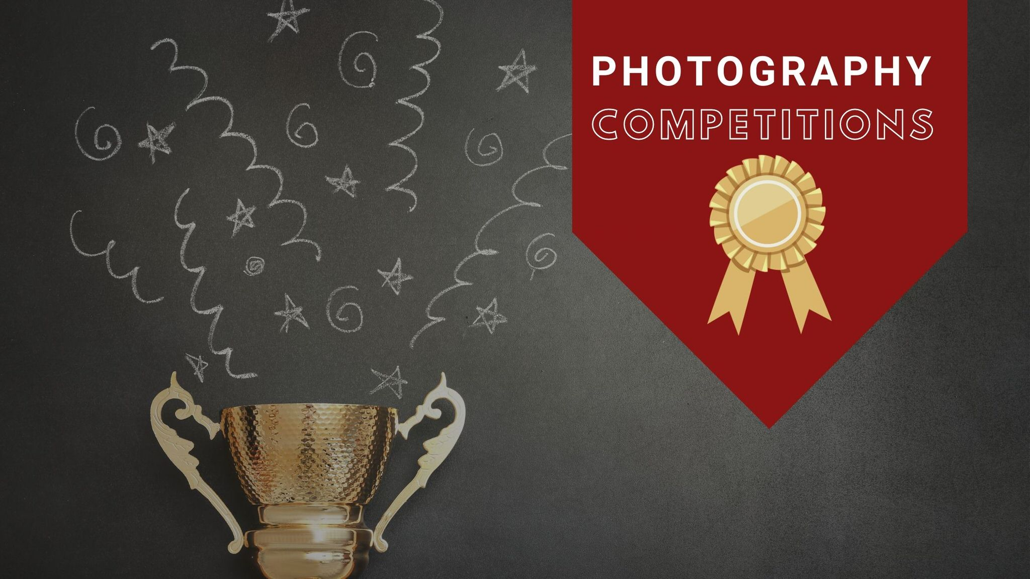 trophy and award banner graphic as main image for blog post about photography competitions