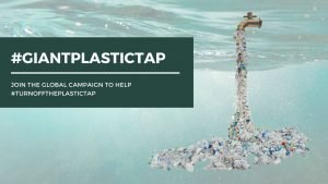 blog post banner image of giant plastic tap on aqua water background